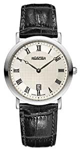 Roamer Limelight Men's Quartz Watch with Silver Dial Analogue Display and Black Leather Strap 934856 41 11 09