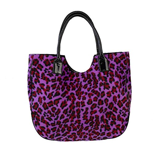 Rock Daddy, Borsa tote donna Nero nero taglia unica, Leopard Lila (Nero) - 22618 Leopard Lila
