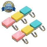multi-usages Crochets magnétiques de cuisine magnétique solide Crochets pour clés, Manteau, réfrigérateur et portes Pastel, multicolore, 6 pièces