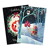Set of 2 Greeting Cards for Christmas, sled - Best Reviews Guide