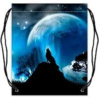 Lobo rugiendo en noche luna arte bolsa de deporte – bolsa de baloncesto  cordón mochila Bolsa 5acf37551f4b6