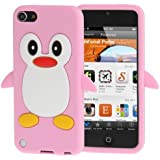 Coque silicone cartoon Pingouin pour ipod touch 5 et ipod touch 6 rose
