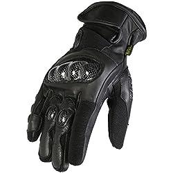 Texpeed Hombres Todos los negro corto longitud/puño cuero moto guantes–tamaño mediano
