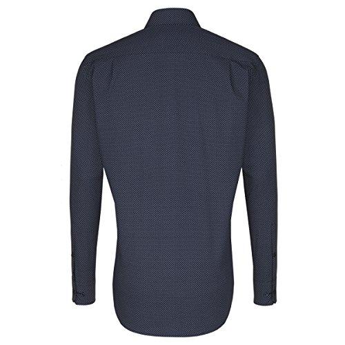 SEIDENSTICKER Herren Hemd Tailored 1/1-Arm Bügelleicht City-Hemd Kent-Kragen Kombimanschette weitenverstellbar blau (0018)