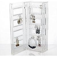 HQdeal Foldable Rangement Bijoux Porte Bijoux Stand de Bijoux pour boucles d'oreilles goujons colliers acrylique transparent