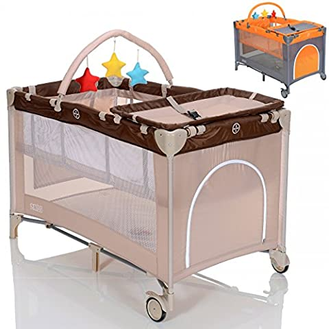 LCP Kids Baby Reisebett 120x60 cm Babybett Matratze höhenverstellbar faltbares Klappbett mit Wickelauflage - beige braun