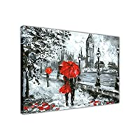 Couple Holding a Red Umbrella in London on Framed Canvas Wall Art Prints Oil Painting Re-Print Home Decoration Pictures