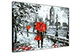 "Couple Holding a Red Umbrella in London on Framed Canvas Wall Art Prints Oil Painting Re-Print Home Decoration Pictures SIZE: A4 - 12"" X 8"" (30cm X 20cm)"