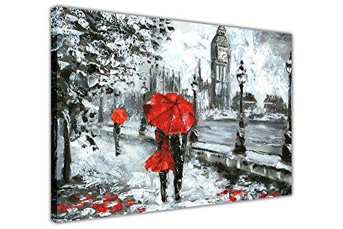 """Impression sur toile montée sur cadre - peinture à huile couple tenant un parapluie rouge à Londres, Red, 04- 30"""" X 20"""" (76cm X 50cm)"""