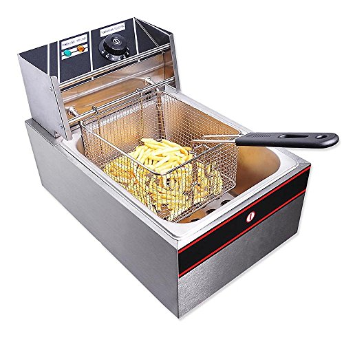51t6O2JT0vL. SS500  - ReaseJoy Commercial Electric Countertop Stainless Steel Single Tank Deep Fryer Restaurant