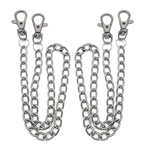 BESTZY Gliederkette, 2 Stück Metallkette Gliederkette mit Karabinerhaken Zubehör für Hut Kostüm Dekoration (Silber)