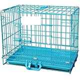 W9 Metal Cage with Plastic Removable Tray for Rabbit, Cat, Guinea Pig, Puppy (24-inch, Blue)