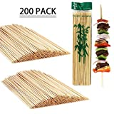 LOAZRE BBQ Bamboo Skewers,200 Count, 12-Inch 3mm, Made from 100% Natural Bamboo