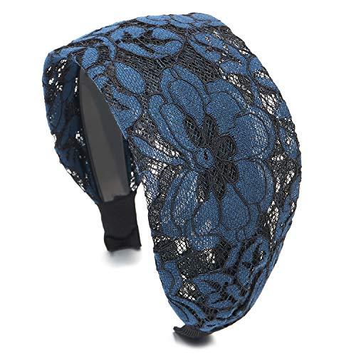 COOLSTEELANDBEYOND Hipster Schick Mode Breiten Breitseite Blau Blumen Spitze Haarreif Haarkranz Stirnband Kopfband Haarband, Schöne