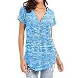 ESAILQ Damen T-Shirt Armelloses Top Frauen Verstellbare Schultergurte Runden Hals Leibchen Crop Top(XL,Blau)