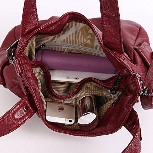 Angelkiss 2 Top Cerniere Multi Tasche Borse Lavato Borse Borse a Tracolla in Pelle Donna 5739/1 Rosso