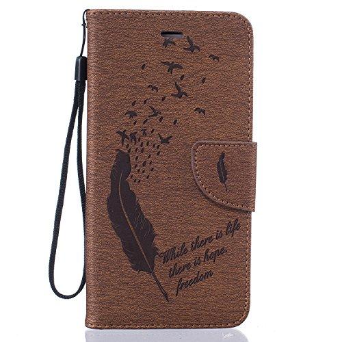 Voguecase® für Apple iPhone 6/6S 4.7 hülle,(Feder/Grau) Kunstleder Tasche PU Schutzhülle Tasche Leder Brieftasche Hülle Case Cover + Gratis Universal Eingabestift Feder/Braun