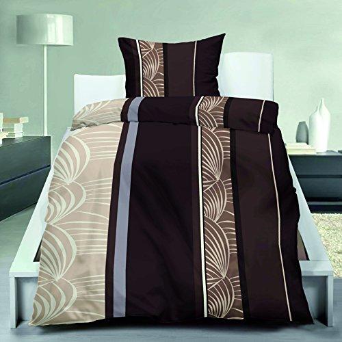 Bettenset Zubehör 4-Teilige leichte Microfaser-Bettwäsche Choco Leaves 2x 135x200 Bettbezug + 2x 80x80 Kissenbezug (Choco-bettwäsche-set)