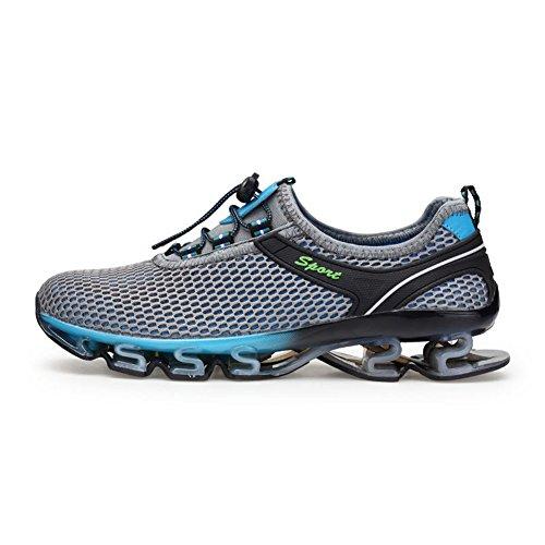 GOMNEAR Herren Laufschuhe Atmungsaktiv Straßenlaufschuhe Turnschuhe Freizeit Sportschuhe Grau