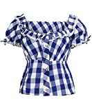 Tracht & Pracht - Damen 100% Baumwolle - Trachtenbluse - Bluse Karo Groß Blau - 44
