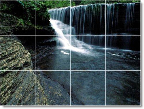 DUCHA MURAL DE AZULEJOS DE FOTOS DE CASCADAS W085  12 75X 43 18CM CON (12) 4 25X 4 25AZULEJOS DE CERAMICA