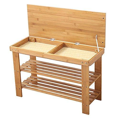 Lagerung Hocker LXF Bambus Schuh Rack Bench 2 Tier Schuhständer Rack Storage Aufbewahrungsbox Hocker Holz Farbe (Größe : 60*27*46cm)