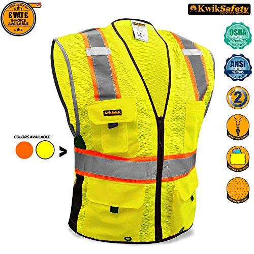 KwikSafety Orange Class 2Deluxe Sicherheitsweste | strapatzierfähige reflektierende Sicherheitsweste mit Reisverschluss und Taschen für Herren und Damen | Motorrad-, Polizei-, Radfahre-, Konstruktions-Arbeitsaustattung, gelb -