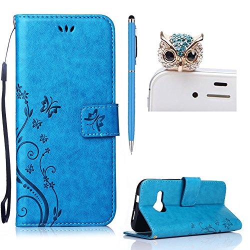 HTC M8 Mini Hülle Leder ,SKYXD Drucken Schmetterling Blumen Prägung Motiv PU Folio Ledertasche [ Standfunktion / Magnetverschluss / Kartenfächer] Einfarbig Handyhülle 3 in 1 Handytasche mit Eule Staubstecker + Eingabestift für HTC One Mini 2 / M8 Mini Schutzhülle - Blau