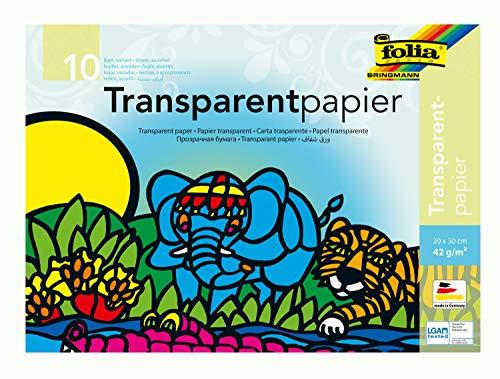 folia 888 - Transparentpapier im Heft, Drachenpapier, ca. 20 x 30 cm, 10 Blatt sortiert in 10 Farben, 42 g/qm, durchschimmernd, zum Basteln von Windlichtern, Laternen, Fensterbildern, und vielem mehr