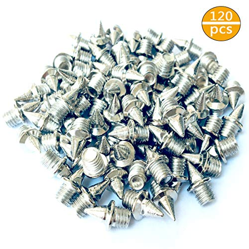 CKANDAY 120 Pieces 1/4 inch Steel Track Cross Country Spikes Replacement  for Shoe Field Spikes, Silver Color