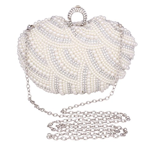 Adoptfade Abendtasche Damen Clutch Tasche Mit Perlen Und Strass Schwarz
