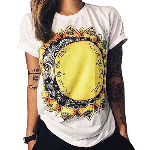 Qhgstore maglietta donne gufo lettere occhio maglietta della stampa allentata solido di colore girocollo a maniche corte no.4 l