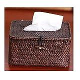 FAH Handgefertigte Stroh Rattan Wohnzimmer Haus Schubladen Gewebt Einfache Niedliche Servietten Handtuch Set Toilettenpapier Box,Gelb,18 cm * 12 cm *