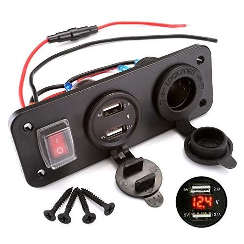 acbungji Dual USB cargador enchufe de 12V LED Voltímetro para 12V 24V...