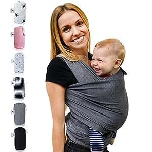 Fastique Kids® Babytragetuch - elastisches Tragetuch für Früh- und Neugeborene Kleinkinder - inkl. Baby Wrap Carrier Anleitung - Farbe grau