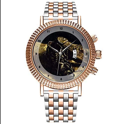 Mode Wasserdichte Herren-Armbanduhr Analog Quarz Edelstahl Mit Gold 053.A Paar Schuhe-Vincent Van Gogh Wristwatch -