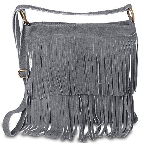 CASPAR TL691 Damen Wildleder Tasche, Farbe:dunkelgrau CASPAR Fashion