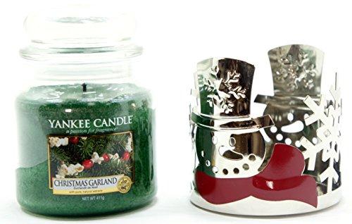 1x ufficiale Yankee Candle pupazzo di neve natalizio barattolo di latta del manicotto decorazione ornamento di + Medium Christmas Garland