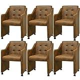 Festnight 6er-Set Essstühle Esszimmerstühle mit Armlehnen Esszimmersessel Küchenstuhl Kunstlederbezug Stuhl-Set 59x57,5x86,5cm Braun