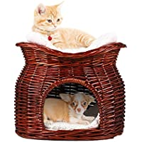 Malayas LosyPet - Litera de Mimbre de Dos Niveles Hecha a Mano para Mascotas, Gatos, Perros, con 2 Cojines Suaves