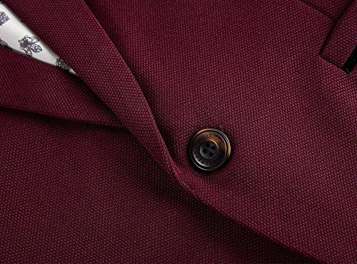 Herren Sakko Slim Fit Freizeit Blazer Casual Männer Business Anzug Jacke Rot