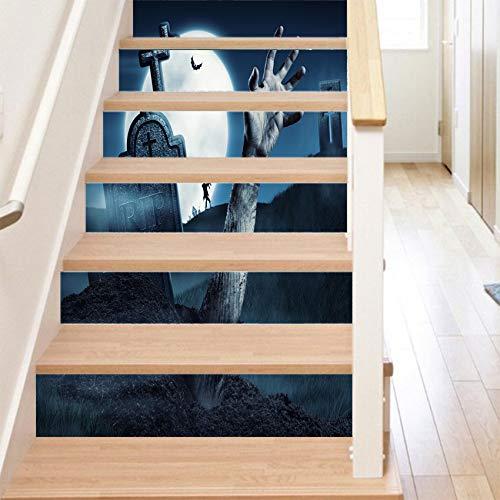 RENZHAO Treppenaufkleber 13 Stück Halloween Stereo Aufkleber 3D Moonlight Abnehmbare wasserdichte Wandaufkleber Schlafzimmer Wohnzimmer DIY Tapete 18 * 100cm