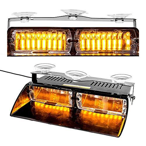 D'urgence stroboscope, Maso 16 LED Ambre de voiture de police Strobe d'avertissement clignotant 12 V, Ambre d'éclairage