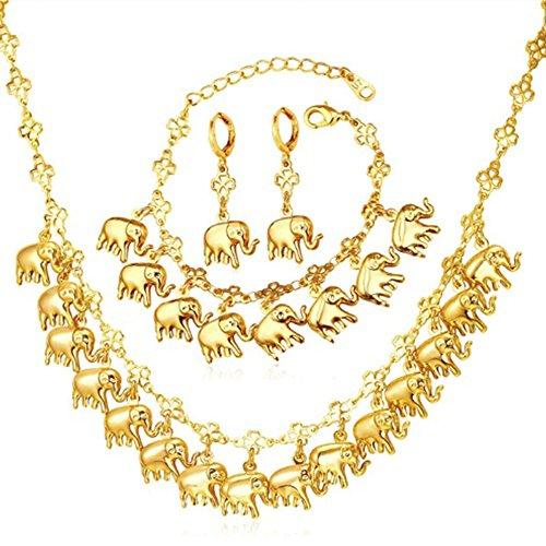 MESE London Elephant Charms Halskette Mit Armband Und Ohrringe Set 18K Gold Uberzogenen Glücksanhänger - Elegante Geschenkbox (Baby Charm Gold)