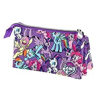 Little Pony- My Estuche portatodo Triple, Color Morado, 22 cm (Karactermanía 32532)