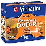 Verbatim DVD-R 4.7GB 8X UltraLife Gold Archival Grade Surface & Hard Coat - 5pk Jewel Case - 96320