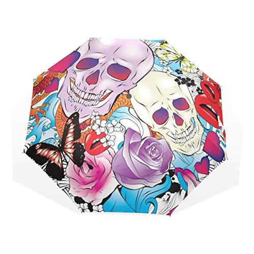 GUKENQ - Paraguas de Viaje con diseño de Calaveras y Mariposas, Ligero, Anti Rayos UV, para Hombre, Mujer, niños, Resistente al Viento, Plegable, Paraguas Compacto