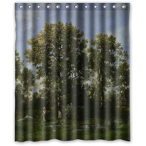 Personalizzato europeo sipario acquerello doccia impermeabile albero verde 152 cm x183 cm (60x72 pollici), la famiglia tenda della doccia bagno, poliestere, facile da asciugare.