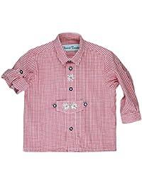 Isar Trachten Trachtenhemd für Kinder, kariert , aus 100% Baumwolle, Krempelärmel , sehr pflegeleicht (Farbe wählbar), Farben:rot;Größen:92