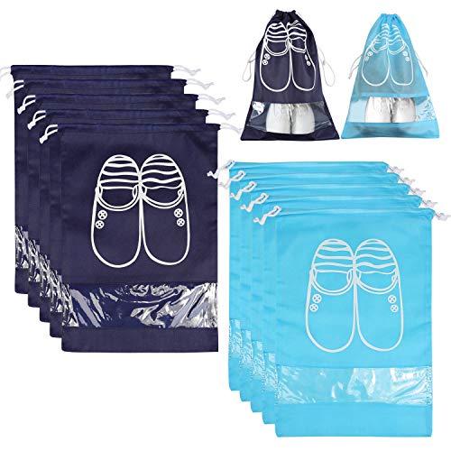 Bolsas para Zapatos,NEWSTYLE 10 Pack Bolsa Impermeable Telas no Tejidas con Ventana Transparente con Dibujar Cadena de Lazo para Botas, Tacón Alto, Zapatos y Sandalias (Azul & Azul Cielo)